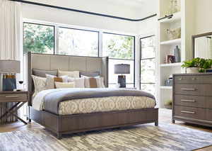 Highline Greige Upholstered Shelter California King Bed